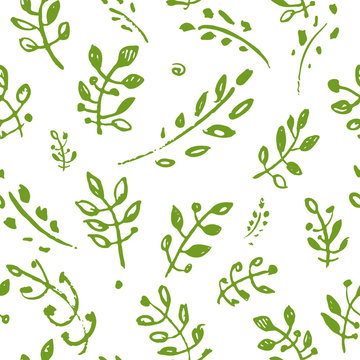 Vector hand drawn doodle green sprigs leaves seamless pattern. Nature graphics background. Trendy design concept for fashion textile print.