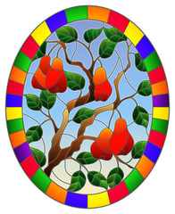 Illustration in stained glass style with branches, leaves and fruits of pear, oval image in a bright frame