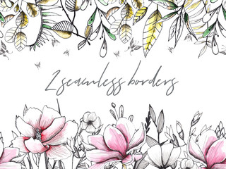 Floral watercolor and sketching wedding handpainted seamless borders with delicate pink and monochrome flowers