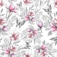 Floral watercolor and sketching wedding handpainted seamless patterns with delicate pink and monochrome flowers
