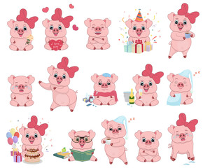 Set vector illustrations isolated on white. Character cartoon Pig stickers emoticons with different emotions for site, infographics,  animation, websites, e-mails, newsletters, reports, comics. Vector