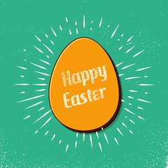 Retro easter egg card illustration for holiday background