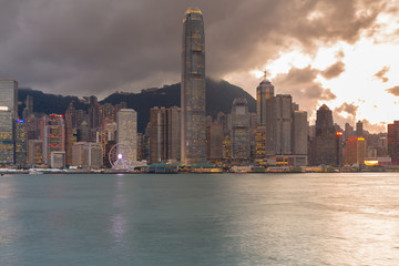Hong Kong cityscape skyline central business park, cityscape background