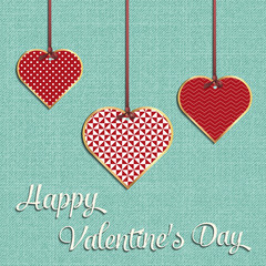 Valentines day card for holiday template with geometric hearts illustration
