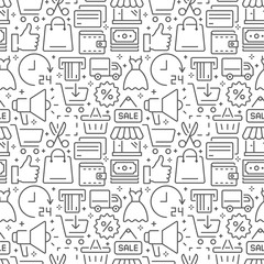 Shopping seamless pattern with thin line icons