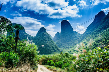 Beautiful  mountains scenery with blue sky