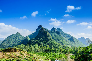 Karst mountains scenery with blue sky background