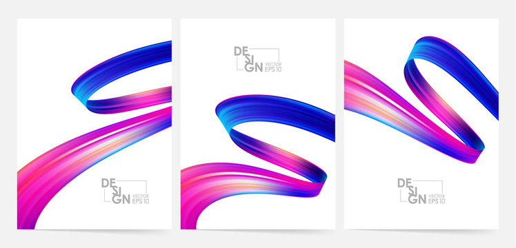Vector illustration: Set of three blank poster with 3d twisted colorful flow liquid shape. Acrylic paint design