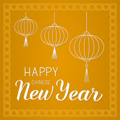 Happy Chinese New Year hand lettering on gold background with traditional Oriental ornament and paper lanterns. Easy to edit Vector template for party invitation, greeting card, banner, poster, etc.