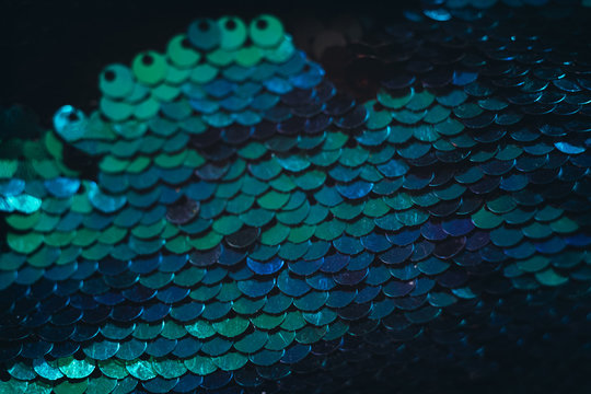 Blue sequin pattern background. Conceptual scale shimmer.