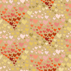 Valentines day seamless pattern, contour hearts from many small hearts. Vector illustration
