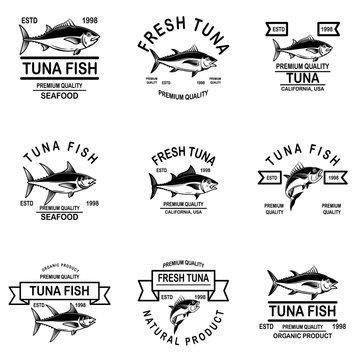 Set of tuna fish labels. Design element for logo, label, emblem, sign.