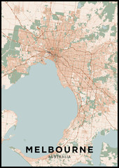 Melbourne (Australia) city map. Poster with map of Melbourne in color. Scheme of streets and roads of Melbourne.
