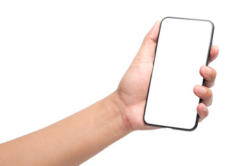 Hand holding smartphone and show touch screen, suitable for advertising. clipping path.