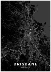 Brisbane (Australia) city map. Black and white poster with map of Brisbane. Scheme of streets and roads of Brisbane.