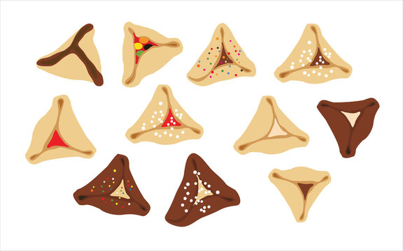 hamantaschen - jewish traditional cookies for Purim on a white background- Oznei Haman