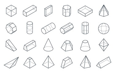 3D geometric shapes. Isometric linear forms, cube cone cylinder pyramid low polygon objects. Vector minimal isometric set