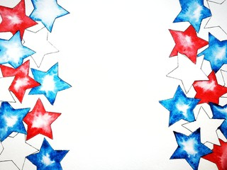 White blue red stars, watercolor, independence day, national colors of flags, copyspace, the concept of patriotism