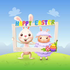 Easter animals - Happy cute bunny and lamb celebrate Easter with social network photo frame - spring landscape background