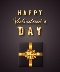 Happy Valentines Day Golden glitter sparkle. Gift box with bow and ribbon top view. Element for decoration gifts, greetings, holidays. Vector illustration