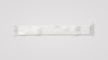 Blank white knitted scarf mock up, isolated, 3d rendering. Empty wool winter accessory mockup, top view. Clear woolen muffler for cold weather. Casual season neckerchief clothing template.