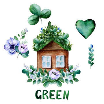 Watercolor green set with green grass roof house, anemone flowers and shamrock leaves, isolated elements on white background