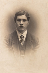 RUSSIA - CIRCA 1905-1910: A portrait of young man, Vintage Carte de Viste Edwardian era photo