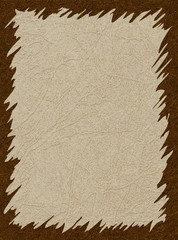 Brown frame on beige background with scratched skin texture, grunge. Vector with noise, marble textured backdrop. Space for your text and other design elements.