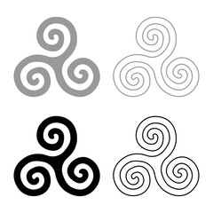 Triskelion or triskele symbol sign icon set grey black color illustration outline flat style simple image