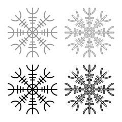 Helm of awe aegishjalmur or egishjalmur icon set grey black color illustration outline flat style simple image