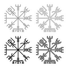 Vegvisir runic compass galdrastav Navigation compass symbol icon set grey black color illustration outline flat style simple image
