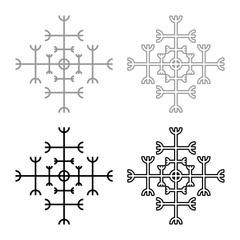 Helm of awe aegishjalmur or egishjalmur galdrastav icon set grey black color illustration outline flat style simple image