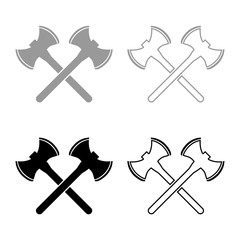 Two double-faced viking axes icon set grey black color illustration outline flat style simple image