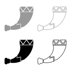 Horn viking icon set grey black color illustration outline flat style simple image