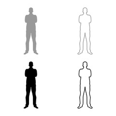 Man with folded arms Confidence concept business man icon set grey black color illustration outline flat style simple image