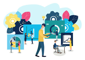 Vector illustration of a business, employees study infographics.