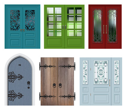 Set of different white door vector illustration
