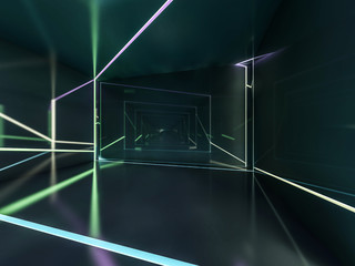 Abstract dark modern architecture background. 3D rendering