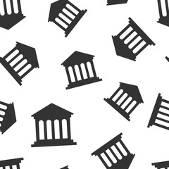 Bank building icon seamless pattern background. Government architecture vector illustration. Museum exterior symbol pattern.