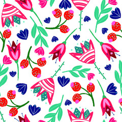 vector seamless floral pattern in folk style on a white background