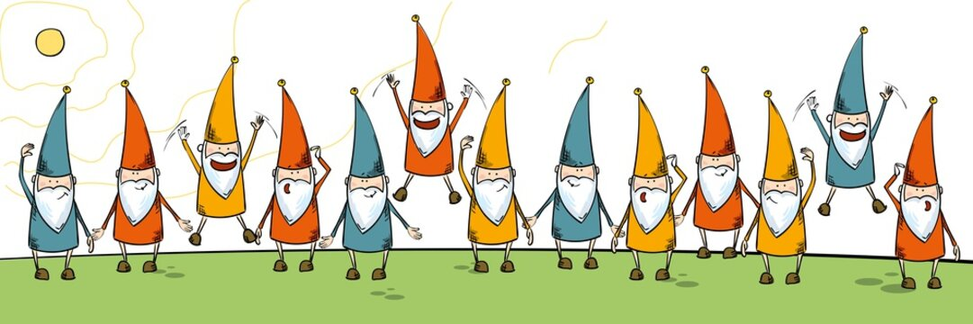 dwarfs in colored on grass