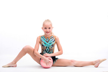 Tuinposter Gymnastiek Teen girl holding rhythmic gymnastics accessories