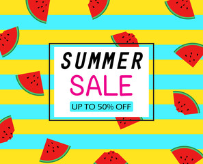 Summer sale template banner on slice watermelons pattern