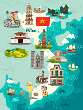 Vietnam map vector. Illustrated map of Vietnam for children/kid. Cartoon abstract atlas of Vietnam with landmark and traditional cultural symbols. Travel attraction icon