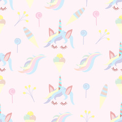 seamless pattern of unicorn and sweets  - vector illustration, eps