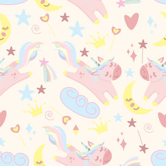 seamless pattern with unicorn and moon - vector illustration, eps