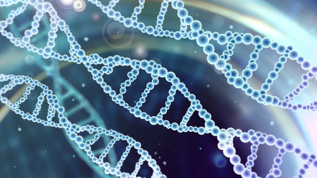 abstract scientific background with DNA spirals in blue space