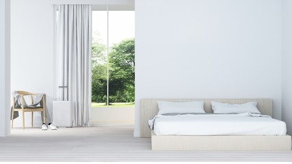 Wall Mural - The interior minimal hotel bedroom space 3d rendering and nature view background