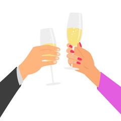 Hands holding champagne glasses, celebrating.