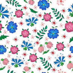 mottled seamless pattern of small flowers and leaves